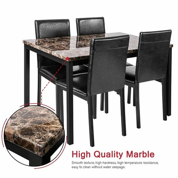 Black//Height 34.7 MIERES 5 Pieces Kitchen Table Set Wood Dining Table Set for 4 Wood Elegant Pub Height Table Kitchen Dining Table Set for Kitchen//Living Room Occasions//Dining Room//Bar