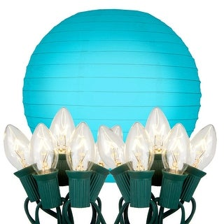"""Pack of 10 Blue Glowing Garden Patio Round Lighted Chinese Paper Lanterns 10"""""""