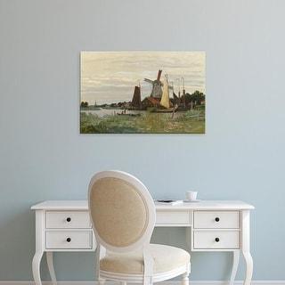 Easy Art Prints Claude Monet's 'A Windmill at Zaandam' Premium Canvas Art