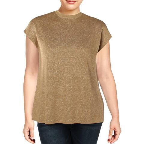 Anne Klein Womens Pullover Sweater Metallic Mock Neck