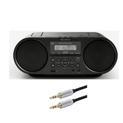 Sony CD Boombox w/ Bluetooth and NFC (Black) & Monoprice Cable Bundle