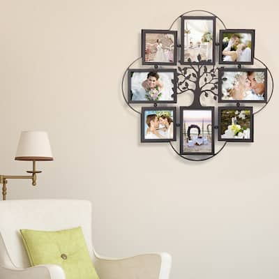 ADECO 8 Openings Iron Metal Wall Hanging Collage Picture Photo Frame