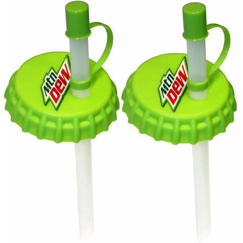 Mtn Dew Soda Straws Pop Can Lid Beverage Topper Caps 2 Lids - No Bugs No Spills - Green