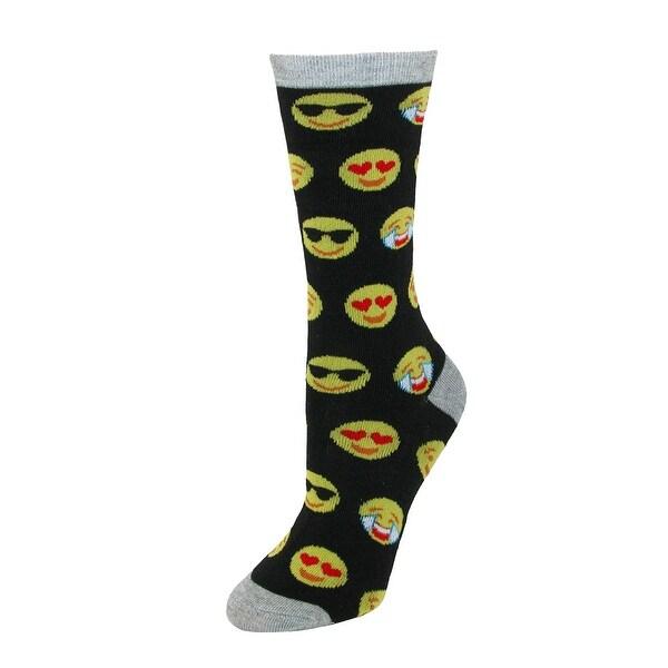 CTM® Women's Emoji Crew Smiley Face Socks