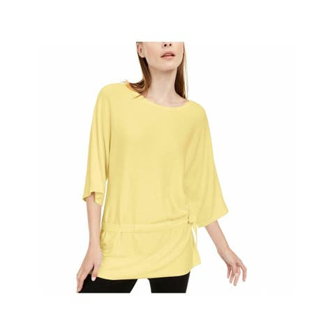 ALFANI Womens Yellow 3/4 Sleeve Scoop Neck Sweater Size L