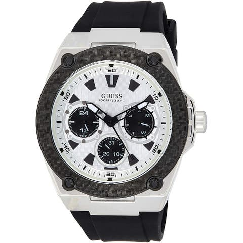 Guess Men's W1049G3 Legacy White Dial With Black Rubber Strap - 1 Size