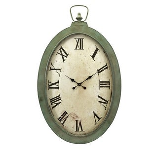 """41"""" Large Antique Finish Green and Off White Roman Numeral Wall Clock"""