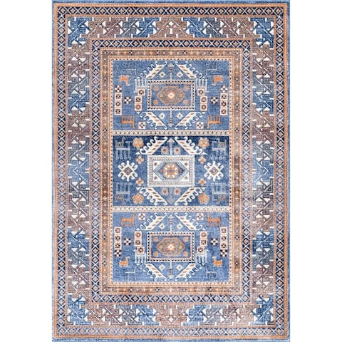 The Curated Nomad McLaren Vintage Tribal Panel Aztec Border Area Rug