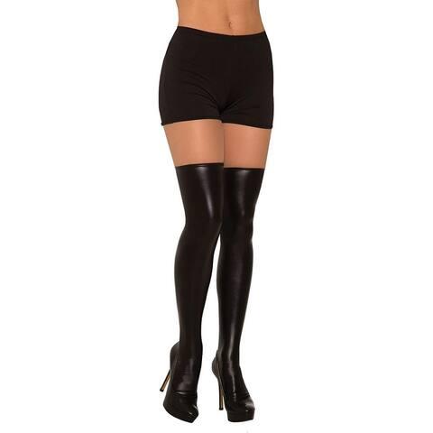 Liquid Leather Women's Costume Knee Highs, Black
