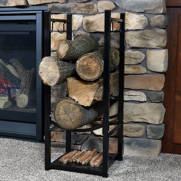 Sunnydaze Indoor Outdoor Fireside Log Rack With Tool Holders   32 Inch Tall