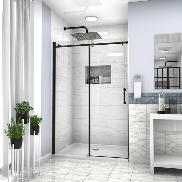 Matte Black Frameless Single Sliding Shower Door Overstock 32826900
