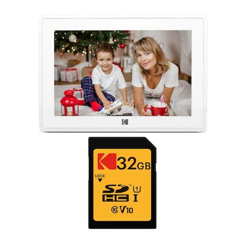 "Kodak 10-Inch Touch Screen Wi-Fi Digital Picture Frame (White) Bundle - 12.4""x 9.2"" x 2.8"""