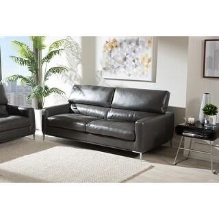 Shop Natalie Light Grey Bonded Leather Sofa Free