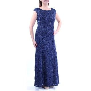 Womens Navy Cap Sleeve Full Length Mermaid Formal Dress Size: 14