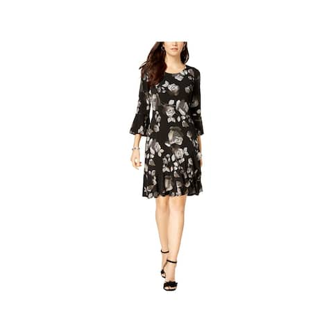 Connected Apparel Womens Wear to Work Dress Floral Print Bell Sleeves
