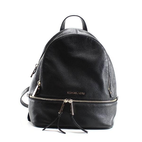 e29b82a0f Shop Michael Kors NEW Black Gold Leather Small Rhea Zip Backpack ...