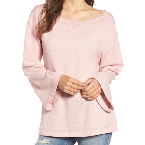 Treasure & Bond Women's Bell Sleeve Pink Small S Boat Neck Sweater