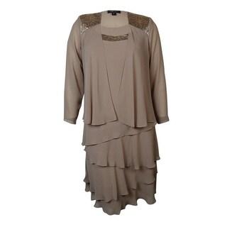 S.L. Fashions Women's Sequin Satin Trim 2PC Chiffon Dress Set - cashmere