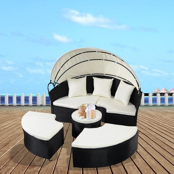 Costway Daybed Patio Sofa Furniture Round Retractable Canopy Wicker Rattan Outdoor