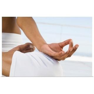 """Woman practicing yoga"" Poster Print"