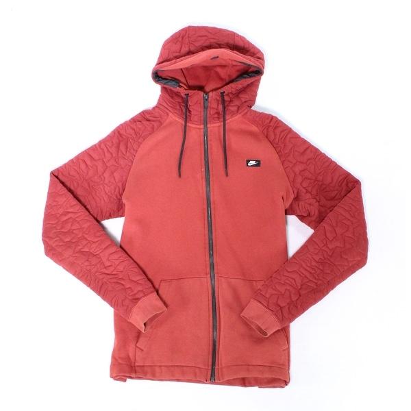 Nike Solid Burnt Red Mens Size Large L Hooded Fleece Jacket
