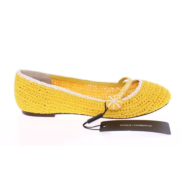 Dolce & Gabbana Yellow Viscose Knitted Ballet Flats Shoes - 39