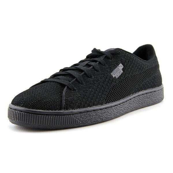 Puma Basket Knit Mesh Men Black-Dark Shadow Tennis Shoes
