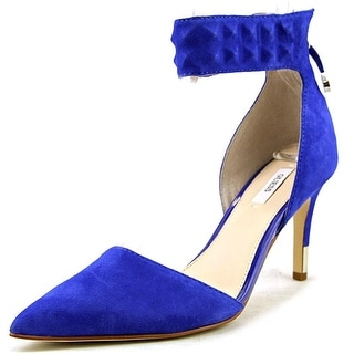 GUESS Womens Evanne Leather Pointed Toe Ankle Strap D-orsay Pumps
