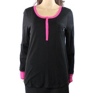 DKNY NEW Black Womens Size Medium M Henley Smocked Trim Sleepshirt