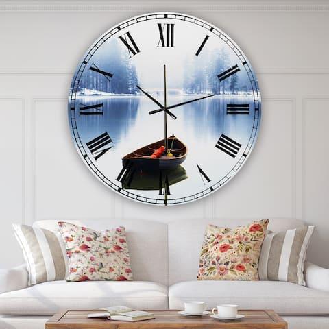 Designart 'Empty Boat On Blue Lake' Oversized Lake House Wall Clock