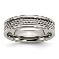 Chisel Titanium & Grey Carbon Fiber 6mm Polished Band