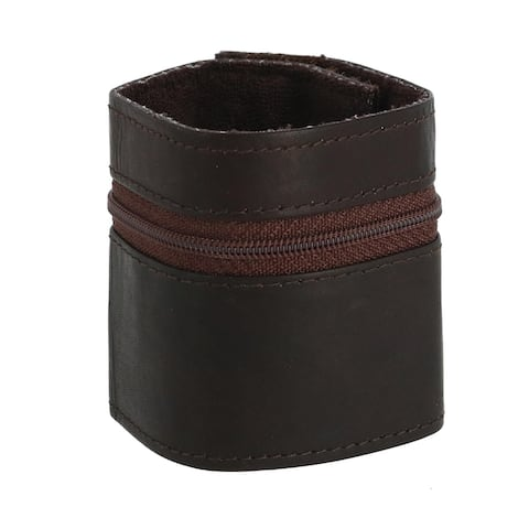 CTM® Leather Wrist Wallet with Zipper - one size