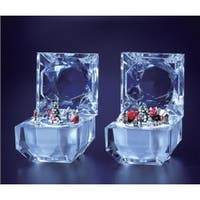 "Pack of 4 Icy Crystal Decorative Christmas Music Boxes 2.8"" - CLEAR"