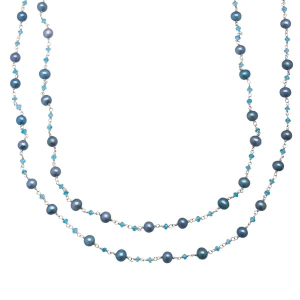 Honora 5.5-6 mm Teal Freshwater Pearl and Apatite Necklace in Sterling Silver - Blue