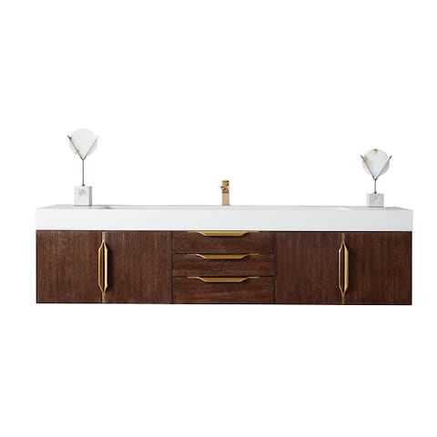 "Mercer Island 72"" Single Vanity, Coffee Oak, Radiant Gold"