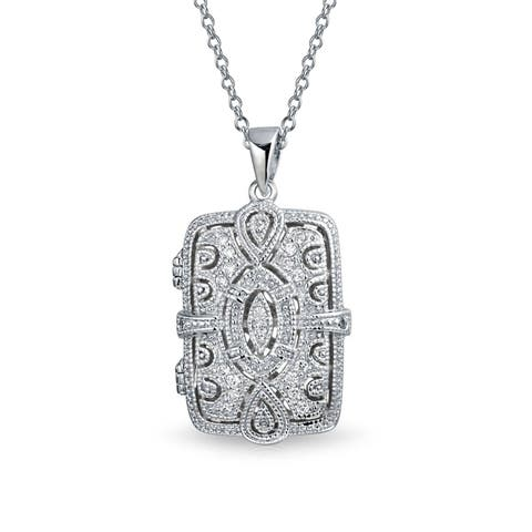 Vintage Style Rectangular Locket Pendant Filigree Cubic Zirconia CZ Necklace for Women 925 Sterling Silver 18in Chain