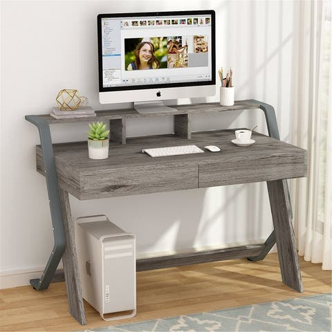 """47"""" Computer Desk Writing Desk with Drawers, Monitor Stand Riser"""