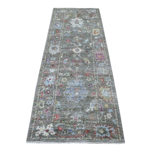 """Shahbanu Rugs Oushak With Soft Velvety Wool Taupe Hand Knotted Runner Rug (2'9"""" x 7'10"""") - 2'9"""" x 7'10"""""""