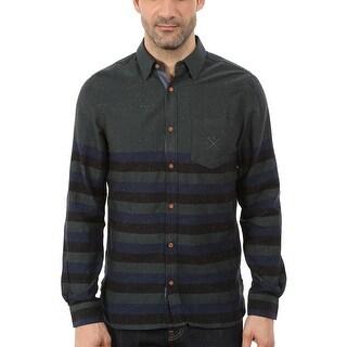 Buffalo by David Bitton Siembossa Shirt Large Green and Blue Striped Slim Fit