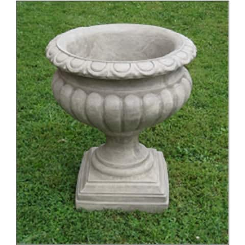 """Set of 2 Rust Finished Outdoor Garden Fluted Urn Planters 27"""""""
