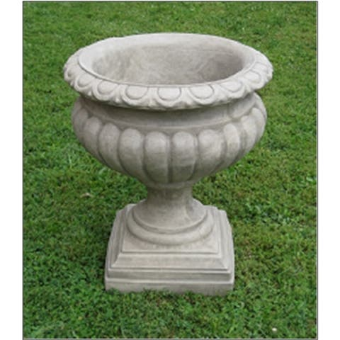 """Set of 2 Taupe Finished Outdoor Garden Fluted Urn Planters 27"""""""