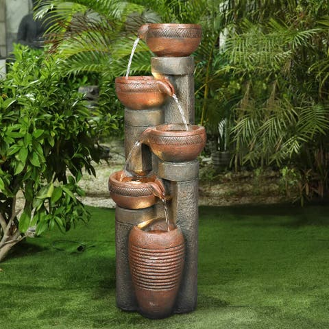 5-Tier Outdoor Water Fountain Resin Waterfall Decor with LED Lights