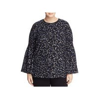 MICHAEL Michael Kors Womens Plus Tunic Top Star Print Metallic