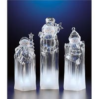 "Pack of 2 Icy Crystal Decorative Illuminated Ice Tower Snowmen Figurines 8.3"" - CLEAR"