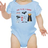 Vampire Steps Halloween Baby Bodysuit Sky Blue Cute Baby Boy Bodysuit
