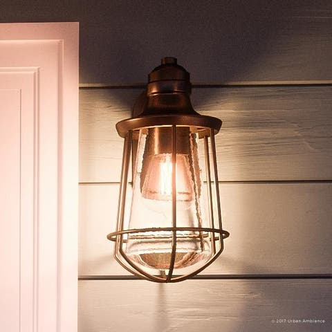 """Luxury Vintage Outdoor Wall Light, 15""""H x 8.5""""W, with Nautical Style, Cage Design, Estate Bronze Finish - 15"""" H, 8.5"""" W, 9"""" Dep"""
