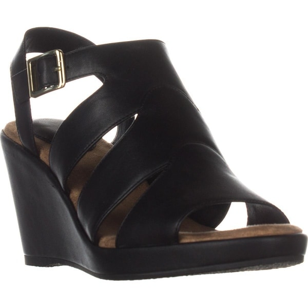 GB35 Wirla Wedge Gladiator Sandals, Black