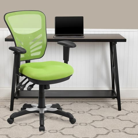 Mid-Back Blue Mesh Multifunction Ergonomic Office Chair with Adjustable Arms