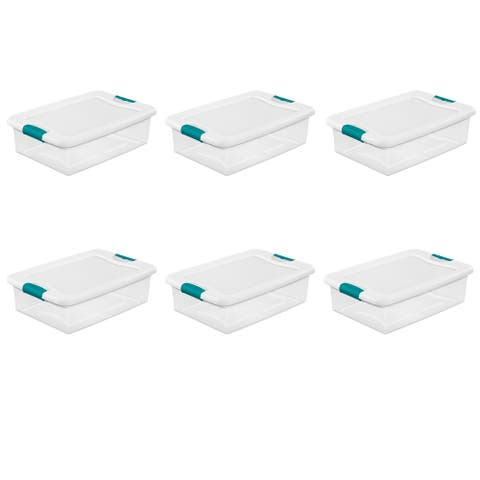 STERILITE 32 Quart Latching Boxes, Clear - Case of 6