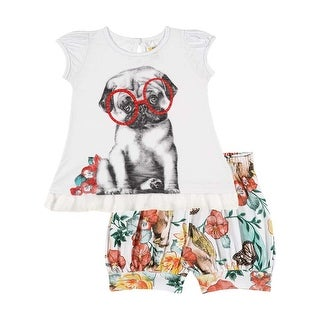 Baby Girl Set Infant Graphic T-Shirt and Shorts Outfit Pulla Bulla 3-12 Months